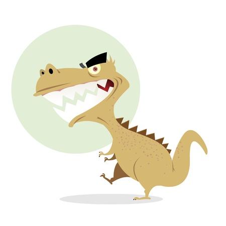 dinosaurio caricatura: Ilustración de una caricatura de dinosaurio T-rex caminando