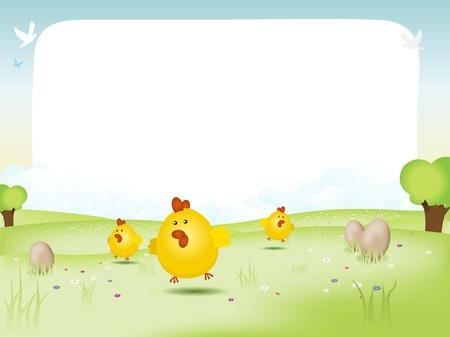 easter tree: Illustratie van een lente of zomer landschap, met eieren en gelukkige kuikens springen op het gras, evocating Pasen, en een achtergrond lege ruimte om uw boodschap inch