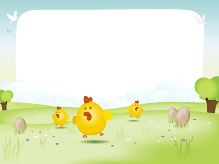 Illustration of a spring or summer landscape, with eggs and happy chicks jumping on the grass, evocating Easter, and a background blank space to put your message in.