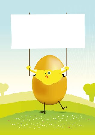 Illustration of a tiny easter chick in a spring or summer landscape, holding a blank space to put your message in Stock Vector - 11248717