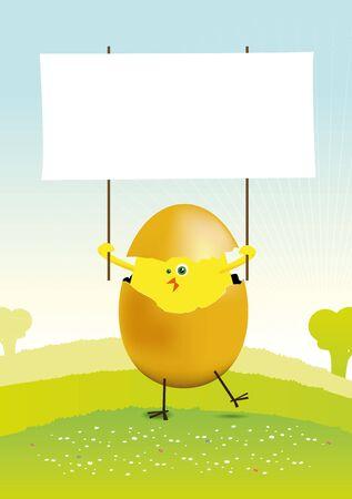 pollitos: Ilustración de un pequeño pollito de pascua en un paisaje de primavera o verano, con un espacio en blanco para poner su mensaje en Vectores
