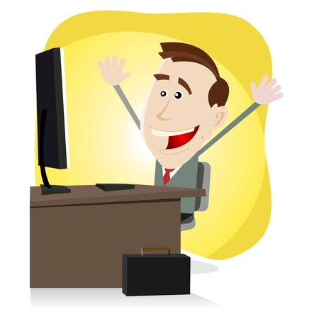 Illustration of a cartoon happy business man finding happiness on the web or on his Desktop Computer