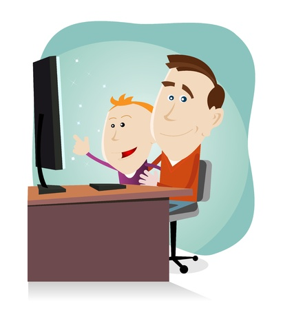 desk toy: Illustration of a cartoon happy family, father and his son looking at something amazing on the screen of their Desktop Computer Illustration