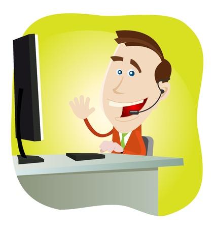 hotline: Illustration einer Karikatur gl�cklicher Mensch IT-Support.
