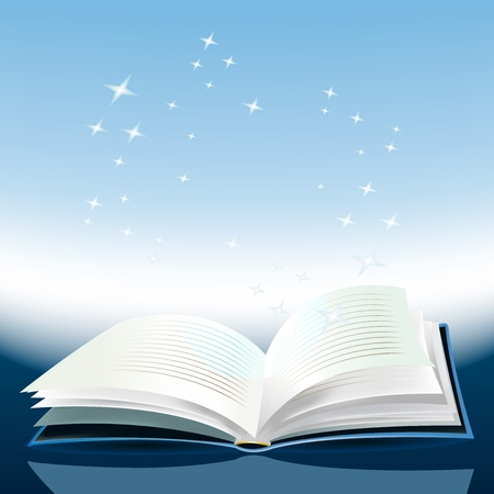 author: Illustration of a magic book with awesome stories inside