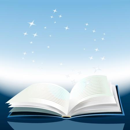 Ilustración de un libro mágico con historias increíbles en el interior