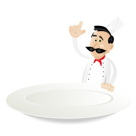 Illustration of a cartoon white cook man holding A Dish plate Vector