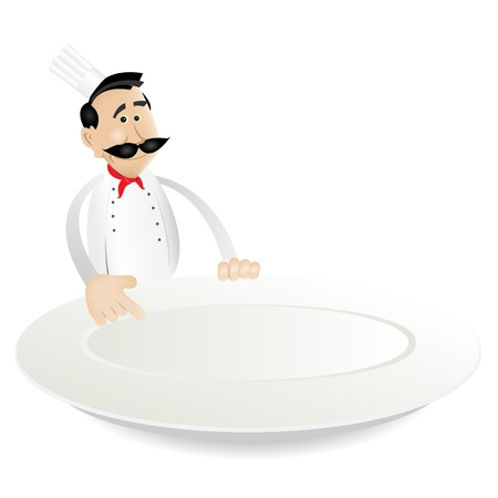 Illustration of a cartoon chef cook holding plate for showing todays menu Vector