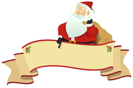 Illustration of santa pointing a christmas scroll banner
