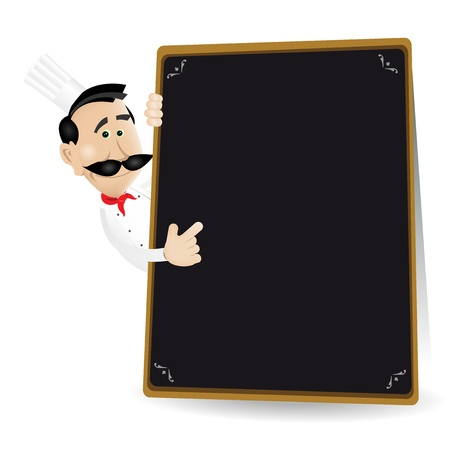 put: Illustration of a cartoon white cook man holding A Blackboard showing todays  special or menu. Put your best menu inside