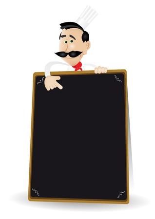 chef caricatura: Ilustración de un hombre de dibujos animados cocinero blanco que sostiene una pizarra que muestra el menú especial o de hoy. Ponga su mejor menú en el interior!