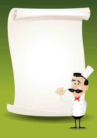 ingredient: Illustration of a happy cook showing his menu on a parchment background