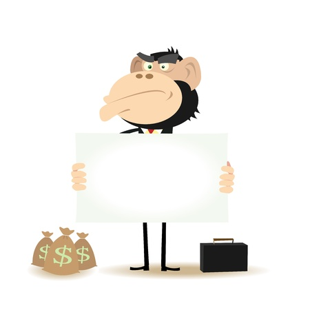 Bag of gold coins: Illustration of a Funny Gorilla Businessman asking for money