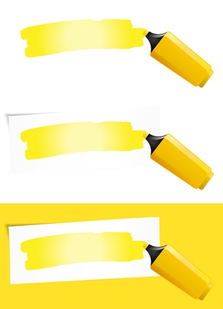 Illustration of a yellow felt tip pen highlighting background paper for your advertisement sign Vector