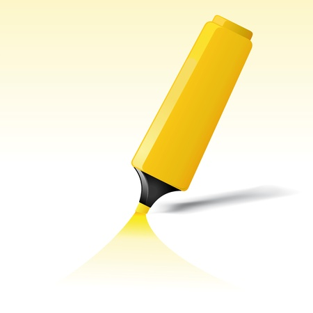 felt tip: Illustration of a yellow felt tip pen highlighting background paper for your advertisement sign