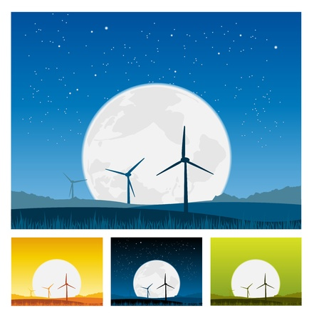 Illustration of outdoors landscape, windmills with beautiful big moon behind  Stock Vector - 11248710