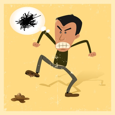 Illustration of a man in the street angry because he has walk onto a dog shit, but  maybe lucky if it was with the left feet ? Vector