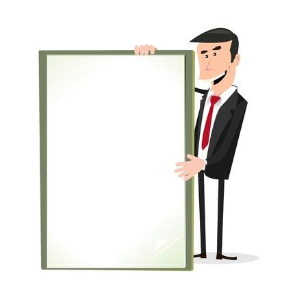 propina: Ilustraci�n de un hombre de negocios simple caricatura feliz blanco con un cartel en blanco. Vectores