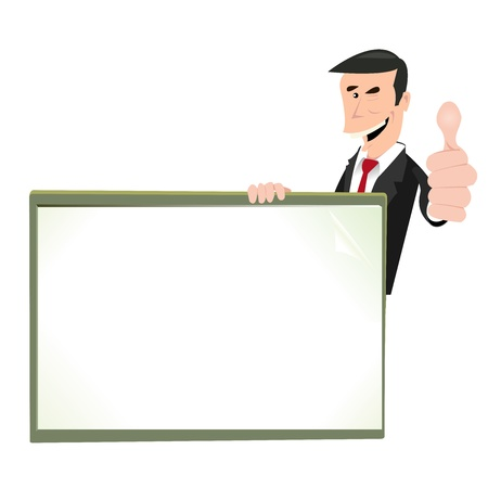 trader: Illustration of a cartoon businessman holding sign for your advertisement