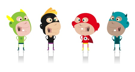 Illustration of funny cartoon band of superhero kids during carnival or halloween Vector