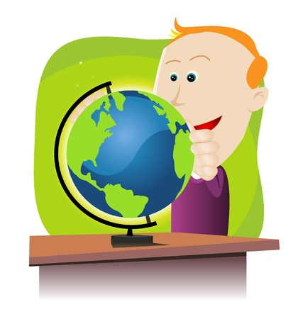 discovering: Illustration of a cartoon amazed young boy holding an earth globe.