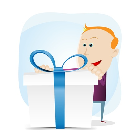 impatient: Illustration of an amazed little boy holding a gift box with blue ribbons