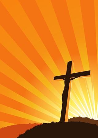 kruzifix: Illustration von einem christlichen Kreuz Silhouette mit Sonne leuchtet hinter Illustration