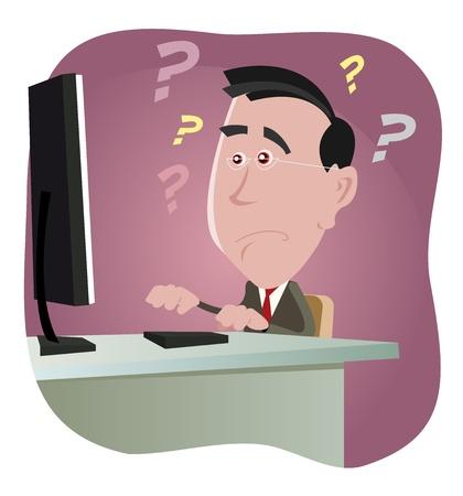 in trouble: Ilustraci�n de un hombre blanco de dibujos animados de trabajo en la oficina encoutering un evento error inform�tico