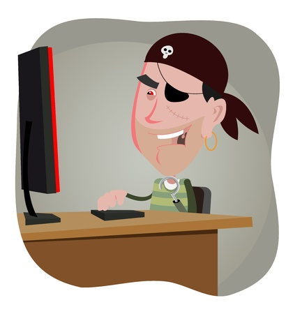 Illustration of a cartoon computer pirate hacker Vector