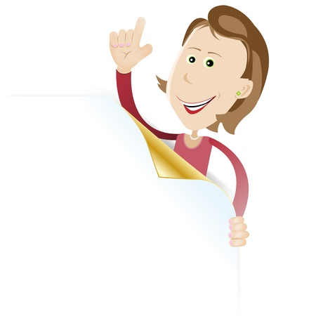 Illustration of a cartoon white brown haired woman holding blank sign Stock Vector - 11248692