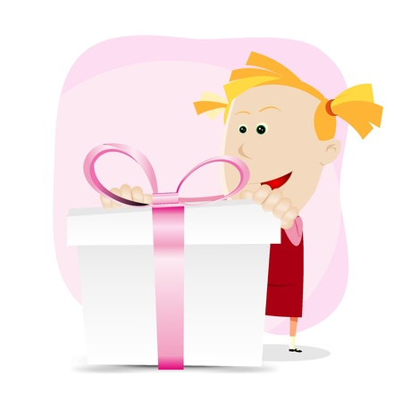 Illustration of a cartoon amazed young girl holding a gift box with pink  ribbons Vector