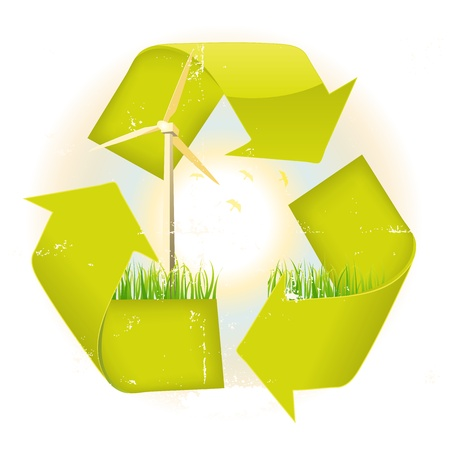 Illustration of the recyclable eco symbol with strong symbolic elements like windmills, birds, trees and grass Stock Vector - 11248714