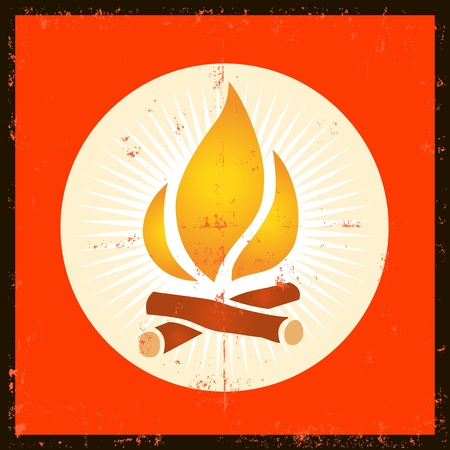 Illustration of a grunge fire flame design element Vector