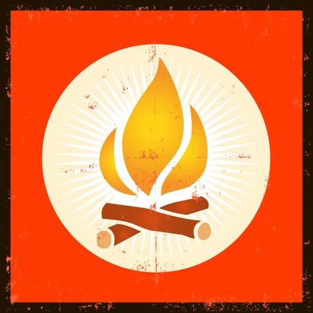 Ilustración de un elemento del fuego grunge diseño de la llama