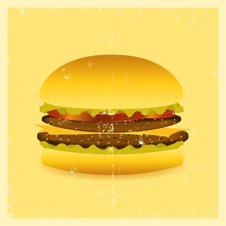 Illustration of a mouthwatering grunge hamburger poster Stock Vector - 11248725