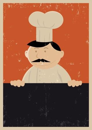 cocinero italiano: Ilustraci�n de un panadero Chef celebraci�n de una pizarra con la textura del grunge