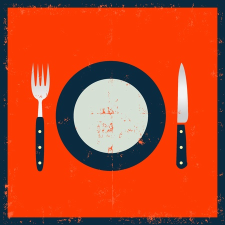 grunge silverware: Illustration of a set of Fork, knife and a plate.