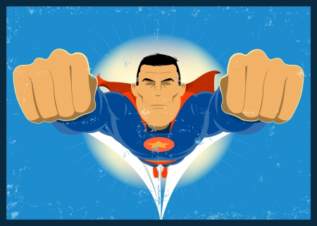 Illustration of a grunge super-hero, flying in the sky Vector
