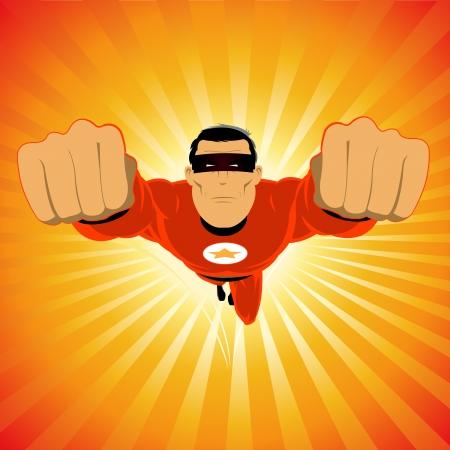 avenger: Illustration of a comic super-hero, fame celebrity flying in the sky