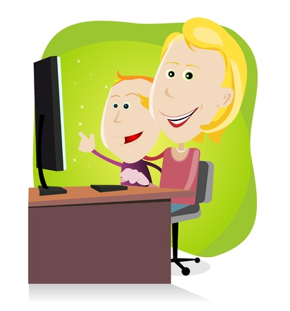 discovering: Illustration of a cartoon happy family, mother and his son looking at something amazing on the screen of their Desktop Computer Illustration