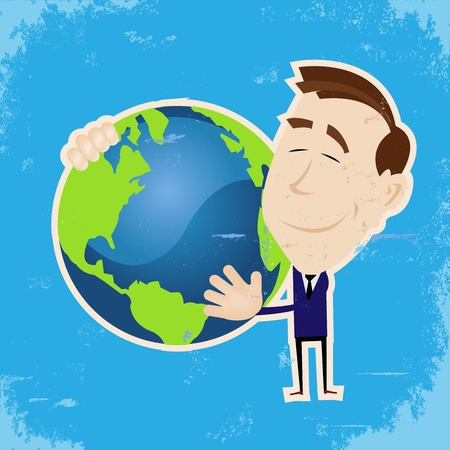 sleeping man: Illustration of a small businessman holding mother earth in his arm