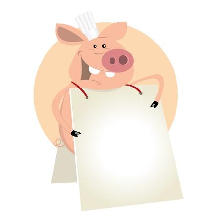 raw pork: Illustration of a cartoon pig cook showing his menu standing like a sandwich- man