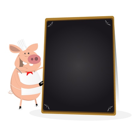 special character: Illustration of a pig chef cook holding a blackboard menu