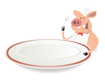Illustration of a cartoon pig cook showing his menu on dishware Vector