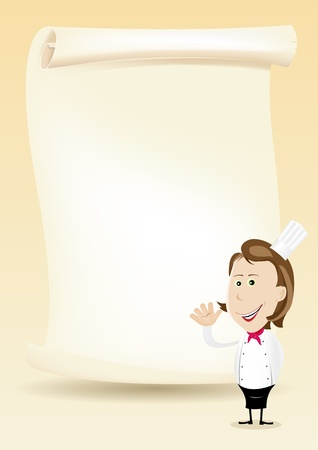 special character: Illustration of a happy cook woman showing her menu on a parchment background