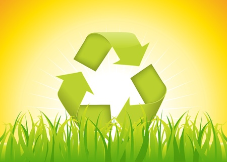 flashy: Illustration of the recyclable eco symbol on a summer backgrounds, with grass  and flashy sunlight