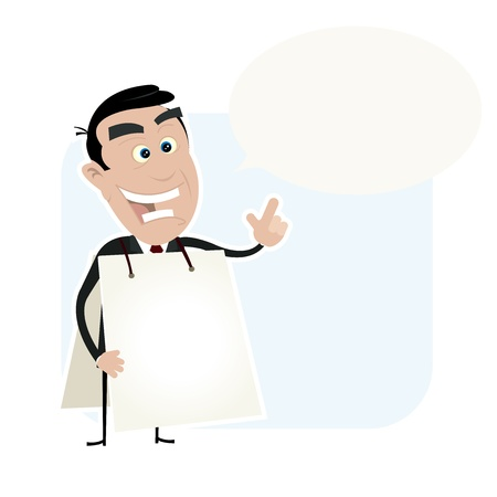 banker: Illustration of a cartoon white businessman wearing a white sandwich board and with a speech bubble to put some message in Illustration