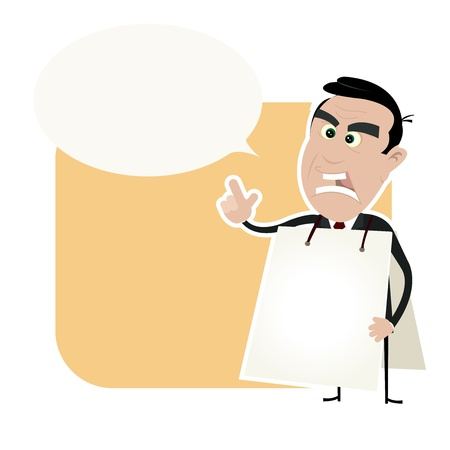 sandwich board: Illustration of a cartoon white angry businessman wearing a white sandwich board and with a speech bubble to put some message in Illustration
