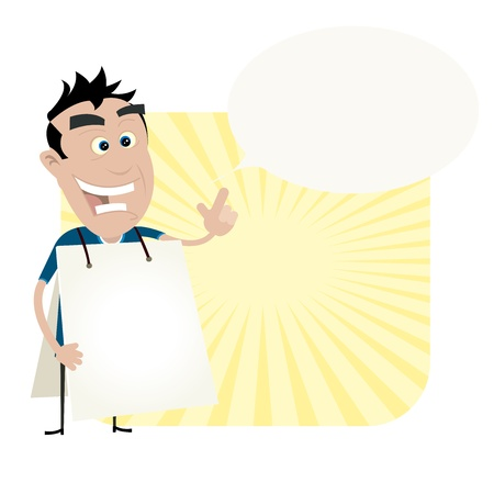 sandwich board: Illustration of a cartoon white young man wearing a white sandwich board with a speech bubble to put some message in