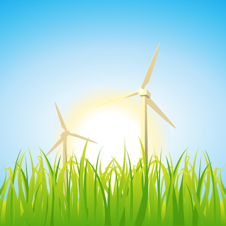 Illustration of spring and summer seasons, including windmills, suns and grass Stock Vector - 11248782